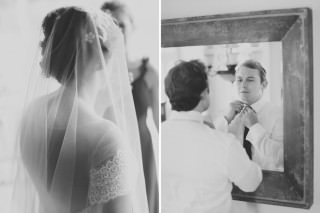 2 photos of the beautiful bride and groom prior to their wedding ceremony at Gervasi Vineyard photographed by red gallery photography