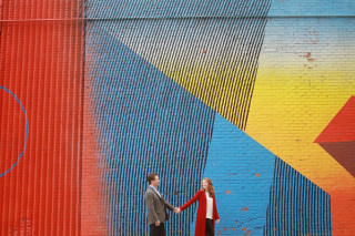New York City is the backdrop for this happy engagement shoot by Red Gallery Photography.
